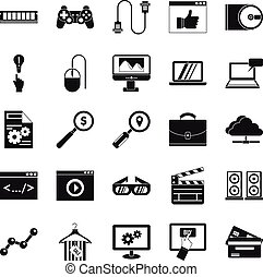 Mobile tech icons set, simple style