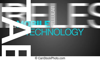 mobile, technologie, mot, nuage