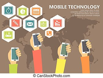 Mobile technology and applications concept