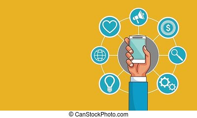 Mobile technology and social networks HD animation - Hand...