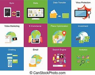 Mobile technology concept illustration. Set of icons. Flat design. Business background.