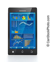 Mobile technology for business. Mobile phone close-up with business statistics