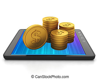 Mobile technology. Tablet computer and group of gold coins, earnings on creating applications for mobile phones Tablet PC