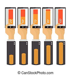 Mobile technology to do business  hand transfer money Vector