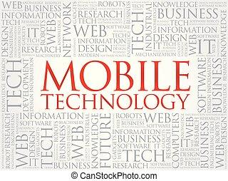 mobile, tecnologia, parola, nuvola