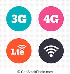 Mobile telecommunications icons. 3G, 4G and LTE. - Circle...