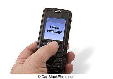 mobile telefon, -, új, üzenet