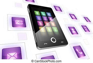 mobile telefon, fehér, ikonok