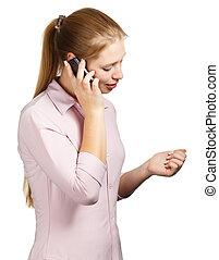 mobile telefon, fehér, nő, háttér