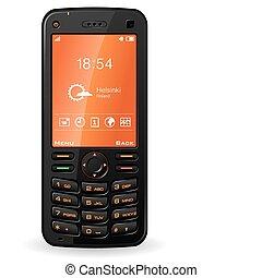 mobile telefon, fekete