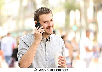 mobile telefon, gyalogló, bábu társalgás