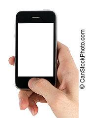 mobile telefon, kéz, ember