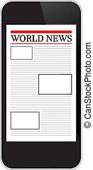 mobile telefon, kiállítás, világ, hír