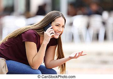 mobile telefon, leány, boldog, hívás