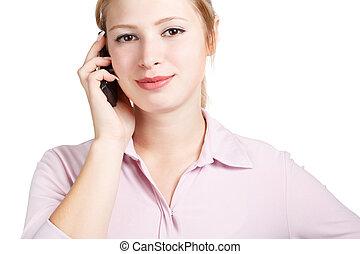 mobile telefon, mosolyog woman