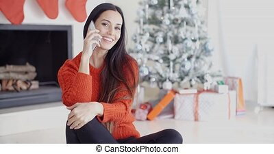 mobile telefon, nő, fiatal, beszéd