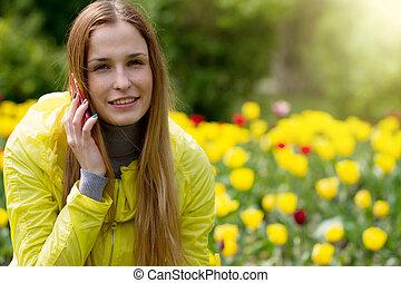 mobile telefon, nő, hívás