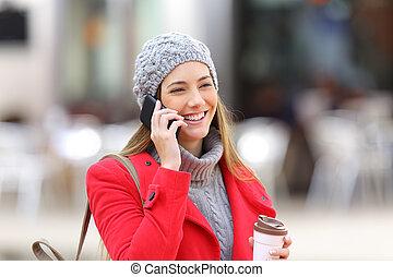 mobile telefon, nő, tél, hívás