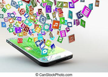 mobile telefon, noha, felhő, közül, alkalmazás, ikonok
