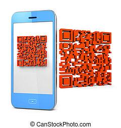 mobile telefon, qr-code, letapogatás