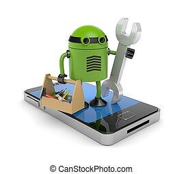 mobile telefon, robot