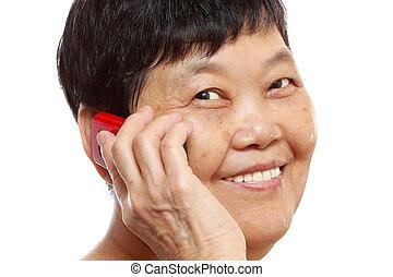 mobile telefon, senior woman, beszéd