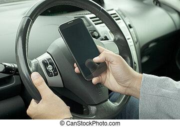 mobile telefon, vezetés, kéz