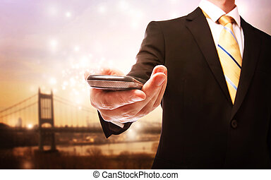mobile, telefono, affari, uomo