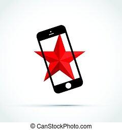 mobile, telefono cellulare, con, uno, stella rossa, fondo