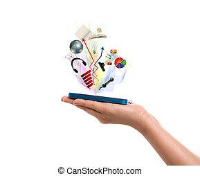 mobile, telefono, presa a terra, mano