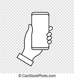 mobile, tenant téléphone, main