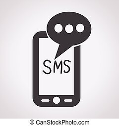 mobile, texte, sms, courrier, message, icône