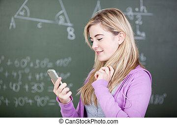 mobile, texte, téléphone, étudiant, message, lecture