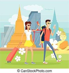 mobile, thaïlande, vacances, appareils, gens