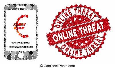 mobile, timbre, menace, détresse, euro, collage, paiement, ligne