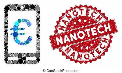 mobile, timbre, nanotech, euro, collage, grunge, banque