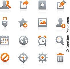 mobile, toile, 2, graphite, icônes