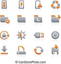 mobile, toile, 3, graphite, icônes