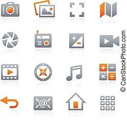 mobile, toile, 5, graphite, icônes