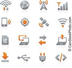 mobile, toile, 6, graphite, icônes