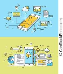 mobile, toile, app, développement
