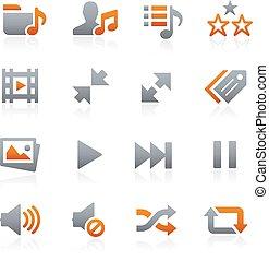 mobile, toile, graphite, 7, icônes