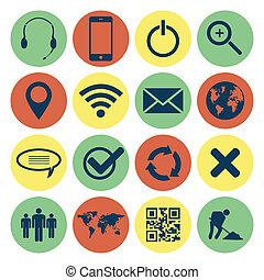 mobile, toile, retro, icônes