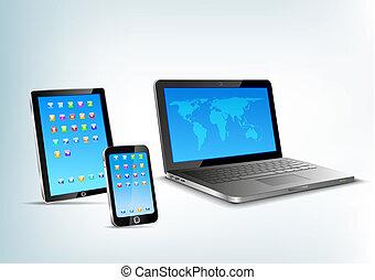 mobile, touchpad, téléphone, vecteur, cahier, perspective, vue