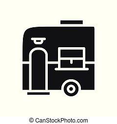 Mobile Trailer Icon. Camping Caravan Trailer Home.