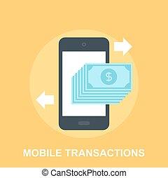 Mobile Transactions - Vector illustration of mobile...