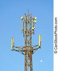 Mobile transmitter - Transmitter over blue sky for mobile...