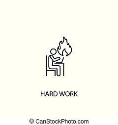 mobile, travail, ligne, icon., contour, concept, dur, illustration., symbole, design., simple, boîte, utilisé, être, toile, élément