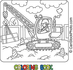 Mobile truck crane with a driver. Coloring book