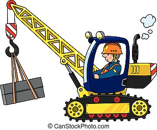Mobile truck crane with a driver. Vector cartoon